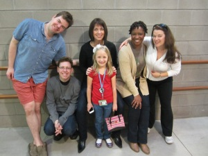 Isabella with the cast of Click Clack Moo after her interviews.